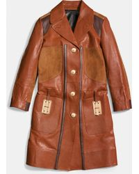COACH | Combo Leather Coat | Lyst
