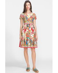 Dolce & Gabbana Printed Cotton Fit and Flare Dress - Lyst
