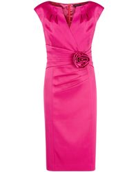 Alexon Hot Pink Sateen Rosette Dress - Lyst