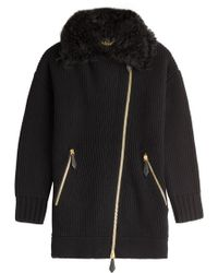 Burberry Brit | Wool-cashmere Cardigan With Shearling - Black | Lyst