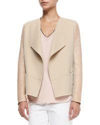 Vince Leather-Sleeve Draped Wool Jacket - Lyst