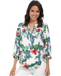 Karen Kane Tropical Split Placket Top - Lyst
