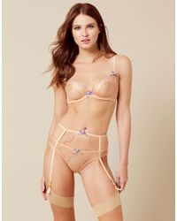 Agent Provocateur - Lorna Suspender Nude And Lilac - Lyst
