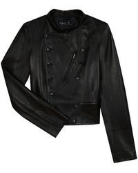 agnès b. - Black Leather Fifre Jacket - Lyst