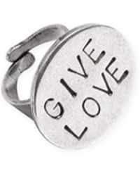 "agnès b. - Silver Ring ""give Love"" - Lyst"