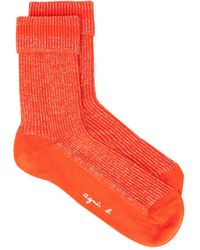 agnès b. - Orange Eve Socks In Sparkly Ribbed Knit - Lyst