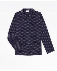 agnès b. Blue Jacket With Small Flowers Print
