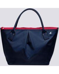 agnès b. - Blue Large Canvas Bag With Polka Dots Lining - Lyst