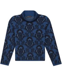 agnès b. - Blue Jacquard High Collar Wool Pullover - Lyst