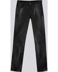 agnès b. - Black Soft Leather Hina Jeans - Lyst