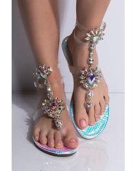 AKIRA - Something About Mary Jeweled Sandal - Lyst