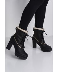 AKIRA - Sorel Dacie Lace Up Waterproof Leather Heeled Bootie - Lyst