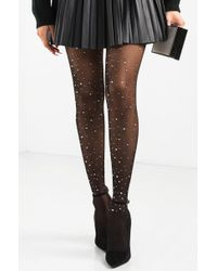 AKIRA - Don't Miss Out Bedazzled Fishnet Tights - Lyst