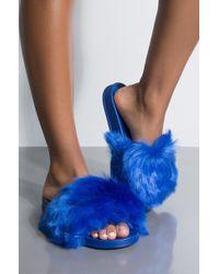 AKIRA - Wanna Be There Faux Fur Slides - Lyst