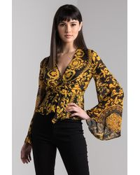 AKIRA - Move Too Fast Brocade Print Blouse - Lyst