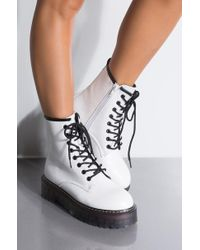736bd3042055 AKIRA - Shaking In Lace Up Mid Calf Flatform Boots - Lyst