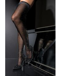 AKIRA - Sparkly Glitzy And Glamour Sexy Thigh High Heeled Boots - Lyst