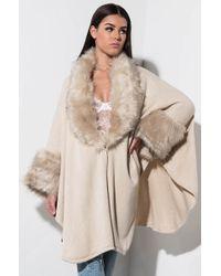 AKIRA - This Is Winter Fur Trimmed Shawl - Lyst