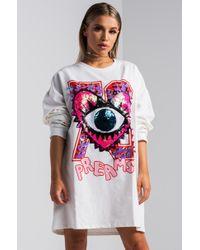 AKIRA - Eye Love You Oversized Sweater Dress - Lyst
