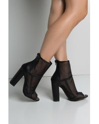 AKIRA - See Right Through You Mesh Open Toe Bootie - Lyst