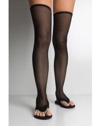 ced4d68b843 AKIRA - California Sun Fishnet Thigh High Flat Sandals - Lyst