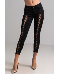 AKIRA - Lindsay Low Rise Laced-up Skinny Jeans - Lyst