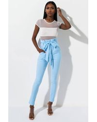 AKIRA Lulu Paper Bag High Waist Cigarette Pants - Blue