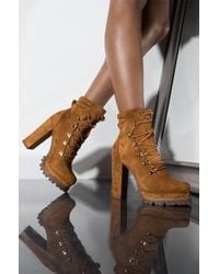 AKIRA - Im Not Naive Laced Up Bootie - Lyst