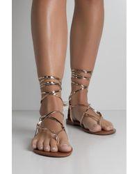 AKIRA - Beat Of The Sun Tie Up Gladiator Sandal - Lyst