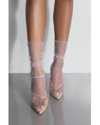 AKIRA - La Sheer Pearl Ankle Sock - Lyst