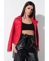 AKIRA - Everyday Faux Leather Moto Jacket - Lyst