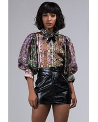 AKIRA - Time For Tea Sheer Floral Blouse - Lyst