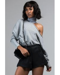 AKIRA - Get Comfortable Cutout One Shoulder Turtleneck Sweatshirt - Lyst