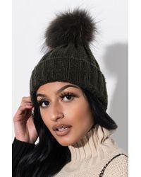 AKIRA - Cozy Nights Fur Knitted Beanie - Lyst