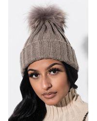 AKIRA - Cosy Nights Fur Knitted Beanie - Lyst