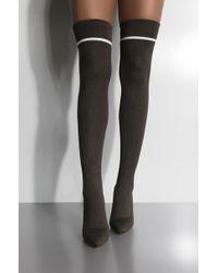 AKIRA - Midnight Rain Thigh High Knit Heeled Boot - Lyst