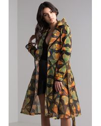 AKIRA - On The Case Printed Mesh Trench Coat - Lyst