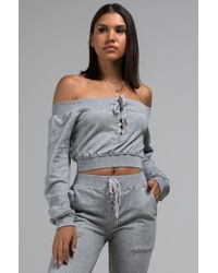 AKIRA - Couldnt Have Enough Comfort Off The Shoulder Crop Sweatshirt - Lyst