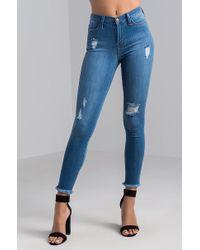 Akira | Kick It Mid Rise Skinny Denim Jeans | Lyst