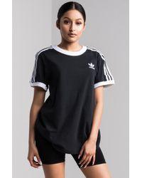 adidas - 3 Stripes Black Womens Ringer Tee - Lyst