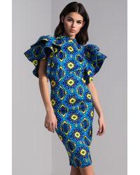 AKIRA - Demanding Your Attention Printed Midi Dress - Lyst
