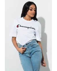 43fe5740 Champion - Oversized White Logo Script Crop T-shirt - Womens Xs - Lyst
