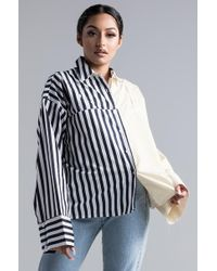 e21097e6 Akira No Apologies Off Shoulder Plaid Shirt in Blue - Lyst