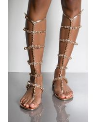 AKIRA - Greatness Bedazzled Gladiator Sandals - Lyst