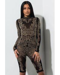 53ba287c6fa0 AKIRA Dressed To Impress Long Sleeve Romper in Gray - Lyst