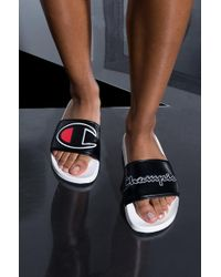 Champion - Womens Ipo Script And Big C Logo Slide Sandal - Lyst
