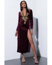 AKIRA - Come Off Good Velvet Maxi Dress - Lyst