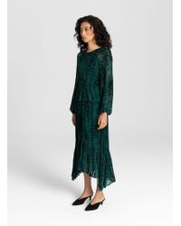 A.L.C. - Ruffled Hem Velvet Devoré Midi Dress - Lyst