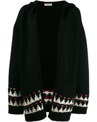 Saint Laurent Oversized Cardigan With Sequined Jacquard - Black
