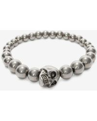 Alexander McQueen - Bracciale Skull con Perle - Lyst